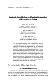 Academic Social Networks Affecting the Adoption of E-Learning in Turkey