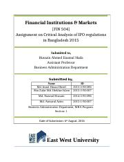 Fin 504 Assignment on Critical Analysis on IPO regulations of Bangladesh Copy.docx