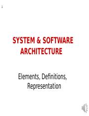 Week 8- System and Software Architecture
