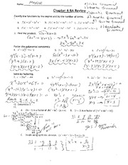 Printables Factoring Polynomials Worksheet With Answers Algebra 2 math algebra 2 walled lake central high school course hero 4 pages factoring polynomial quiz review with key