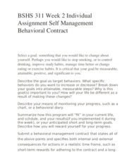 BSHS 311 Week 2 Individual Assignment Self Management Behavioral Contract