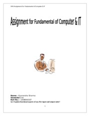 MCA1010- FUNDAMENTALS OF COMPUTER AND IT