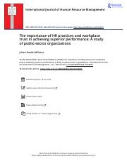 The importance of HR practices and workplace trust in achieving superior performance A study of publ