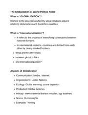 The Globalization of World Politics Notes