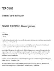 Variabel Intervening Intervening Variable Teori Online Pdf