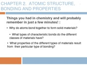 Chapter 2 - Atomic structure, bonding, and properties