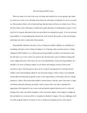 Essays On High School  Pages Personal Responsibility Essay Final Draft What Is Thesis Statement In Essay also English Literature Essays Personal Responsibility Essay Rough Draft  Jon Newberry Personal  Essay For Health