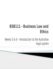 Weeks 5 & 6 - Aus legal system