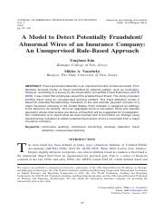 A Model to Detect Potentially Fraudulent: Abnormal Wires of an Insurance Company- An Unsupervised Ru