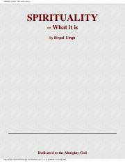 Spirituality - What it is by Kirpal Singh