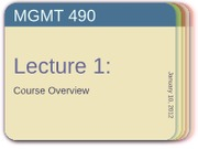 Lecture 1 -- Jan 10