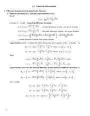 Lecture Notes on Numerical Differentiation