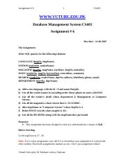 Database Management Systems - CS403 Spring 2007 Assignment 06