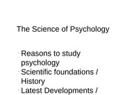 L1 Science of Psych - Intro & History