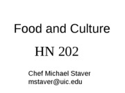 Food and Culture HN202