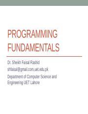 PF-Identifiers_4 pptx - PROGRAMMING FUNDAMENTALS Dr Sheikh