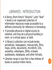 1st Presentation -TYPES OF LIBRARIES