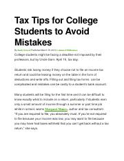 Tax Tips for College Students to Avoid Mistakes