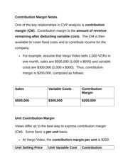 Contribution Margin Notes
