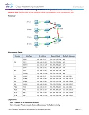 9.1.4.6 Packet Tracer - Subnetting Scenario 1 Instructions IG