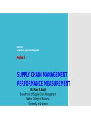 SCMT 2103 (3)- Introduction to Supply Chain Management - Module 3 - Measuring Supply Chain Performan