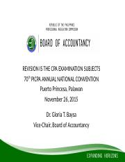 BOA - REVISION CPA EXAMINATION SUBJECTS
