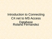 Connecting C# with MS Access DB