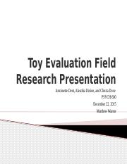 toy evaluation field research Means of egress evaluation plan review our diverse team of experts is able to provide field learn more by clicking on a forensic engineering.
