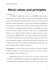 changes in Moral values and principles