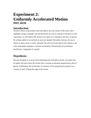 Uniformly accelerated motion lab report causal thesis