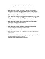 Sample Thesis Statements for Cultural Traditions.docx
