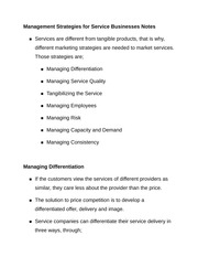 Management Strategies for Service Businesses Notes