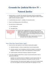 Grounds for Judicial Review IV - Natural Justice