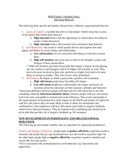 OB Chapter 2 Reading Notes: Individual Behavior