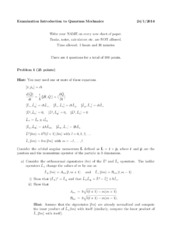 Quantum Mechanics Exam January 2014