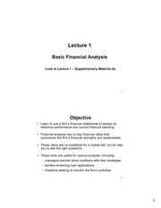 Lecture 1 - Basic Financial Analysis