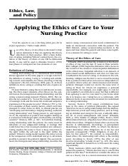 Applying the Ethics of Care to Nursing Practice