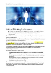 Critical Thinking for Business 1 Mar