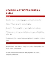 Vocabulary Notes Parts 3 and 4