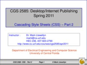 Cascading Style Sheets - Part 2