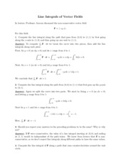 Line Integrals of Vector Fields review