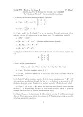 Exam 2 Review on Linear Algebra