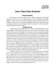 Leon Pope Case Analysis