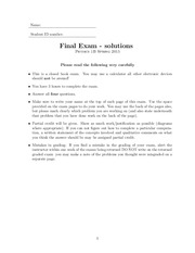 Final Exam solutions