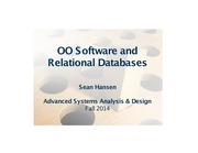 Systems Analysis and Design lecture 31 OO software and relationap databases