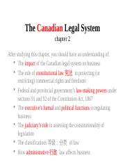 chapter 2 - The Canadian Legal System