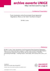 de Melo - Trade Liberalization at the Environmental Goods Agreement negotiations 2015