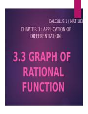 Chapter 3 Graph of Rational Function pptx - CALCULUS 1 MAT