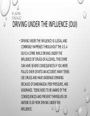 DUI for drivers ed