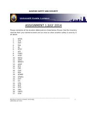 MIAT AVIATION SAFETY AND SECURITY ASSIGNMENT 1 JULY 2014